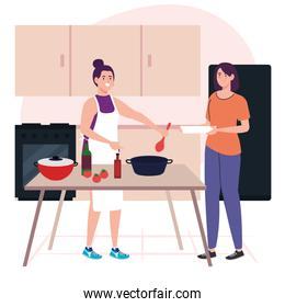 smiling women cooking using apron, in the kitchen scene