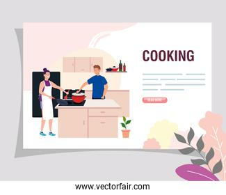 banner of couple cooking in the kitchen scene