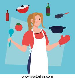 woman cooking using apron, with kitchen utensils