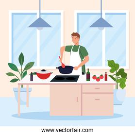 man cooking using apron, in the kitchen scene