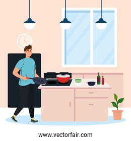man cooking, in the kitchen scene