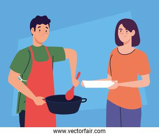 couple cooking in blue background