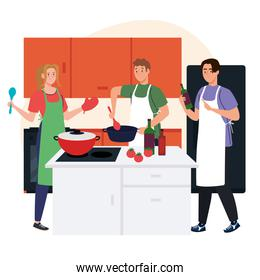 group people cooking in the home