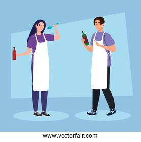couple cooking using apron, in blue background