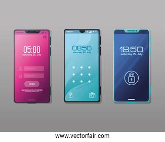 set of realistic smartphones mockup with safety app on the screen