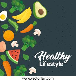 banner healthy lifestyle, with vegetables and fruits