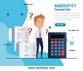banner bankruptcy financial crisis, worried businessman with business icons