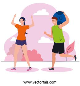 couple practicing exercise outdoor, recreation exercise sport