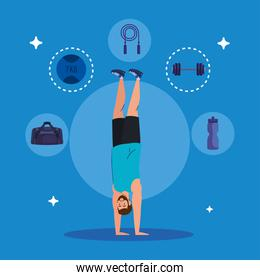 man standing on the hands with sport icons, sport recreation exercise