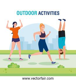 outdoor activities, group young people practicing sport