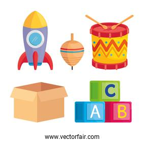set of cute toys kids in white background