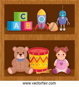 kids toys in wooden shelving