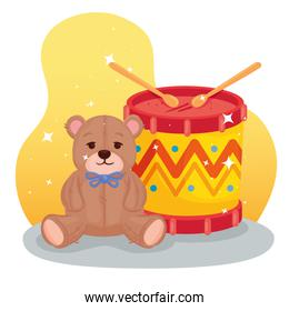kids toys, drum with teddy bear