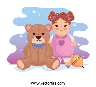 kids toys, cute doll with teddy bear and spinning toy