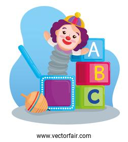 kids toys, alphabet cubes with clown in box and spinning toy