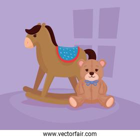kids toys, wooden rocking horse with teddy bear