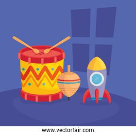 kids toys, drum with rocket and spinning toy