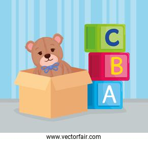 kids toys, alphabet cubes with teddy bear in box