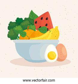 healthy food, vegetables and fruits in bowl