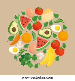 healthy food, vegetables and fruits in round frame