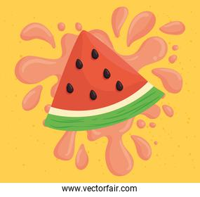 fresh slice of watermelon on juice splash