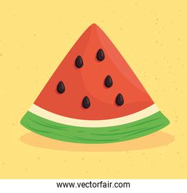 fresh and healthy slice of watermelon in yellow background