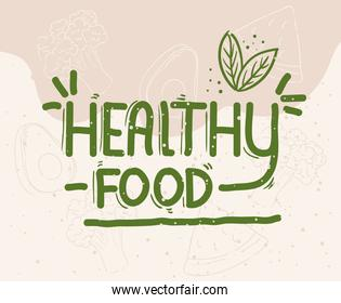 poster of healthy food lettering