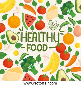 banner healthy food on background of fruits, vegetables and healthy food