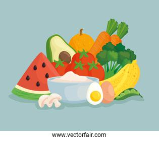 healthy food, vegetables with fruits and food