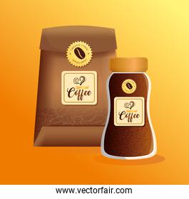 branding mockup coffee shop, restaurant, corporate identity mockup, glass bottle and bag paper of special coffee