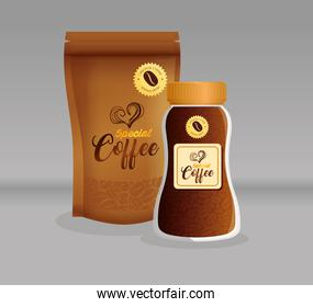 branding mockup coffee shop, restaurant, corporate identity mockup, glass bottle and bag zip of special coffee