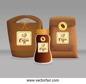 branding mockup coffee shop, restaurant, corporate identity mockup, glass bottle and bags paper of special coffee