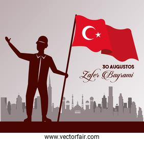 zafer bayrami celebration with soldier and flag on the city
