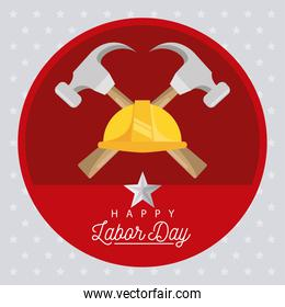 happy labor day celebration with helmet and hammers
