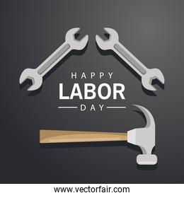 happy labor day banner with wrench and hammer
