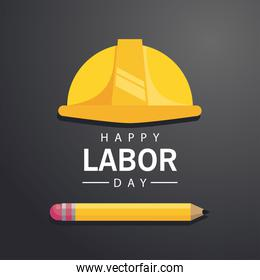 happy labor day celebration with helmet and pencil supply