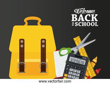 back to school poster with schoolbag and items