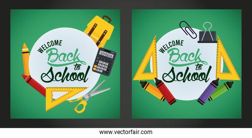 back to school poster with chalkboards and set supplies scenes