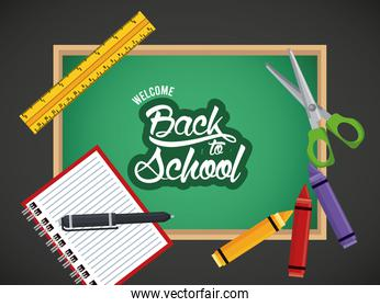 back to school poster with chalkboard and pen