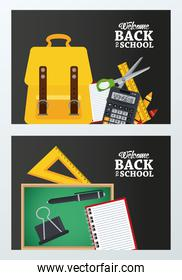back to school poster with chalkboard and schoolbag set supplies