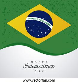 brazil happy independece day celebration with flag