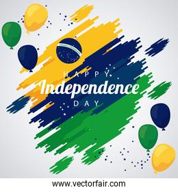 brazil happy independece day celebration with flag in balloons helium