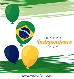 brazil happy independece day celebration with flag and balloons helium