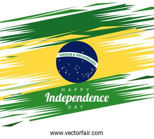 brazil happy independece day celebration with flag painted