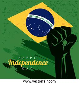 brazil happy independece day with flag and hand fist