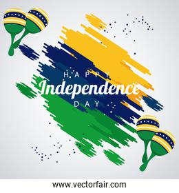 brazil happy independece day celebration with flag and maracas painted