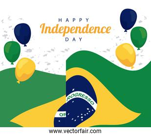 brazil happy independece day celebration with flag in balloons helium floating