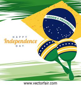 brazil happy independece day with flag and maracas
