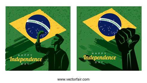 brazil happy independece day with flag and strong man silhouette