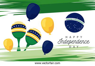 brazil happy independece day celebration with flag in balloons helium and maracas